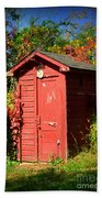Red Outhouse Beach Towel
