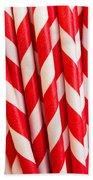 Red Paper Straws Beach Towel