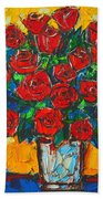 Red Passion Roses Beach Towel by Ana Maria Edulescu