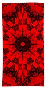 Red Patchwork Art Beach Towel