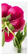 Red Peony Flower Back Beach Towel