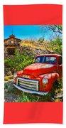 Red Pickup Truck At Santa Fe Beach Towel