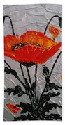 Red Poppies Original Palette Knife Beach Towel