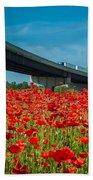 Red Poppy Field Near Highway Road Beach Towel