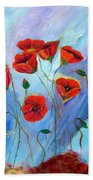 Red Poppy With Dragonfly Beach Towel