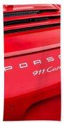 Red Porsche 911 Detail E183 Beach Towel