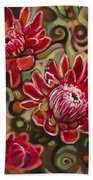 Red Proteas Beach Towel by Jen Norton