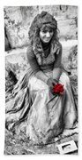 Red Red Rose In Black And White Beach Towel