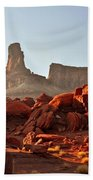 Red Rock And Spire Beach Towel by Marty Koch