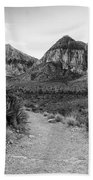Red Rock Canyon Trailhead Black And White Beach Towel