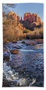 Red Rock Crossing Winter Beach Towel by Mary Jo Allen