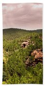 Red Rock Green Forest No2 Beach Towel