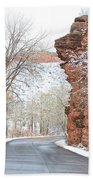 Red Rocks Winter Landscape Drive Beach Towel by James BO  Insogna