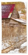 Red Roof In The Snow  Beach Towel