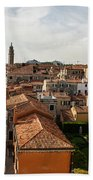 Red Roofs Of Europe - Venetian Canal Palaces Gardens And Courtyards Beach Towel