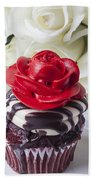 Red Rose Cupcake Beach Towel