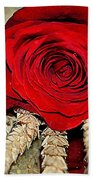 Red Rose On A Bed Of Wheat Beach Towel