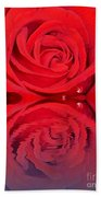 Red Rose Reflects Beach Towel