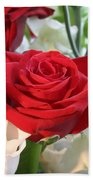 Red Rose With Garden Background  Beach Towel