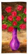 Red Roses In A Purple Vase Beach Towel