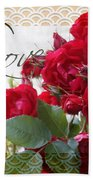 Red Roses Love And Lace Beach Towel
