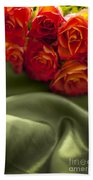 Red Roses On Green Silk Beach Towel