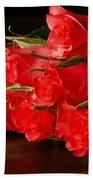 Red Roses On Wood Floor Beach Towel