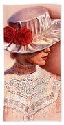 Red Roses Satin Hat Beach Towel
