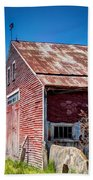 Red Rustic Weathered Barn Beach Towel