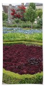 Red Salad And Roses - Chateau Villandry Garden Beach Towel