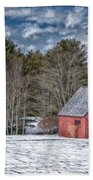 Red Shed In Maine Beach Towel by Guy Whiteley