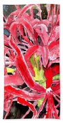 Red Spider Lily Flower Painting Beach Towel