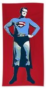 Red Superman Beach Towel