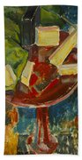 Red Table Top Still Life Beach Towel