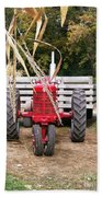 Red Tractor Ready To Roll Beach Towel