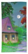 Red Tree Cottage At Dusk Beach Towel