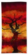 Red Tree Of Life Beach Towel by Pixel Chimp