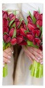 Red Tulip Weddding Bouquets Beach Towel