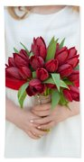 Red Tulip Wedding Bouquet Beach Towel