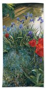 Red Tulips And Geese  Beach Towel