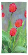 Red Tulips Colorful Painting Of Flowers By K. Joann Russell Beach Towel