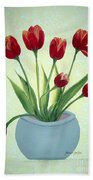 Red Tulips In A Pot Beach Towel