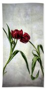Red Tulips On A Letter Beach Towel