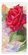 Red Valentine Rose Beach Towel
