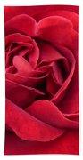 Red Velvety Rose Beach Towel