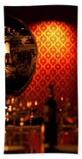 Red Wall And Dinner Table Beach Towel