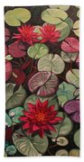 Red Water Lilies Beach Towel