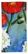 Red White And Blue Flowers Beach Towel