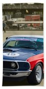 Red White And Blue Mustang Beach Towel