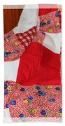 Red White And Gingham With Flowery Blocks Patchwork Quilt Beach Towel
